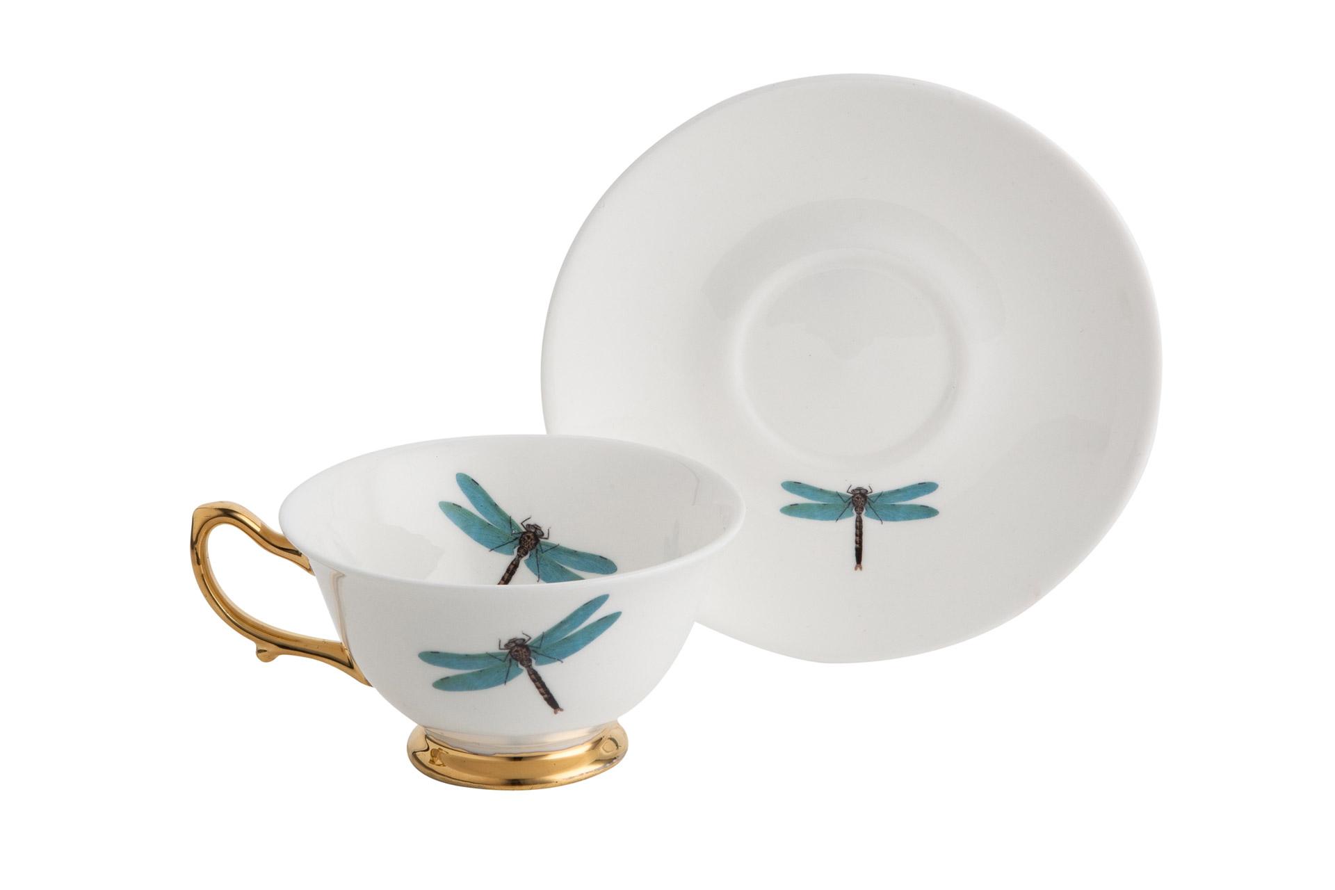 Чашка с блюдцем Melody Rose Dragonflies от Roomble