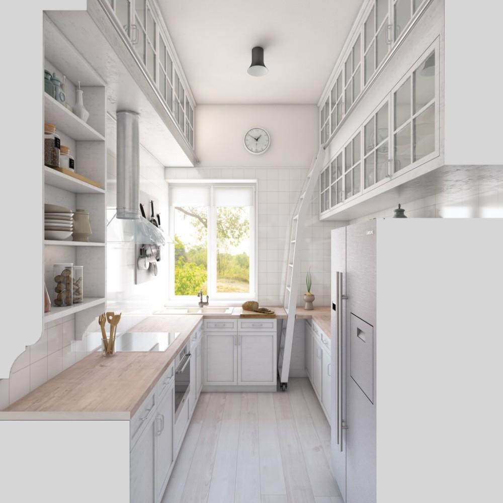 Кухня в цветах: светло-серый, белый, бежевый. Кухня в стилях: минимализм, экологический стиль.