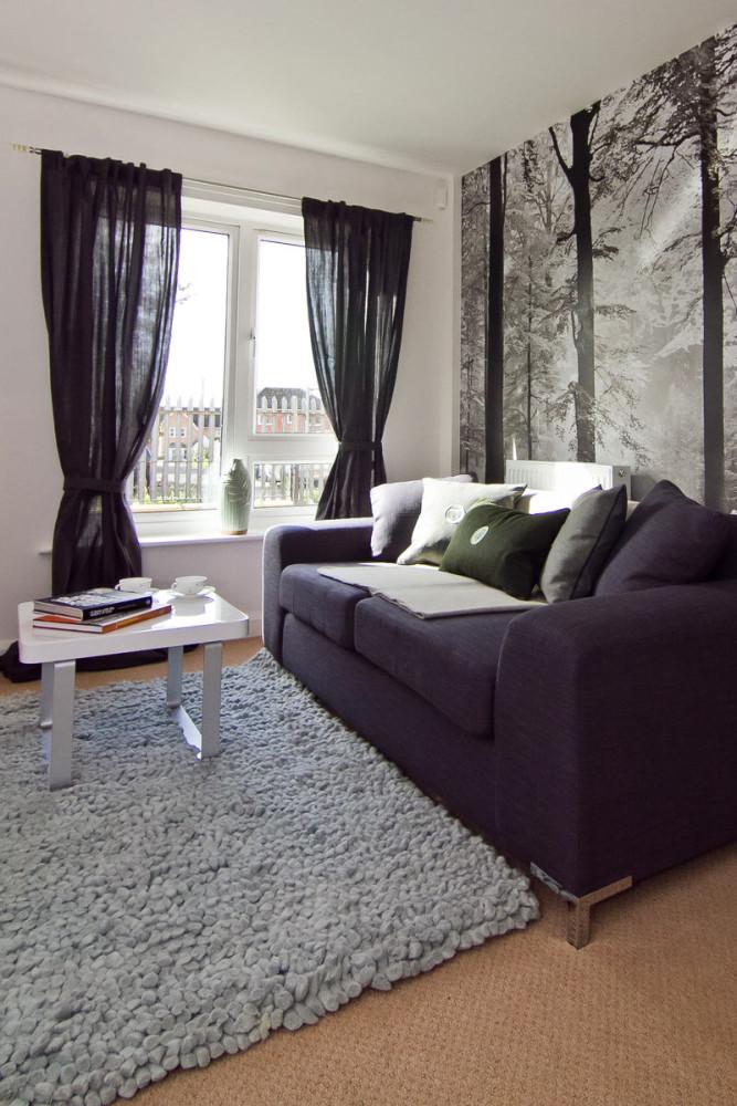 Гостиная, холл в цветах: черный, серый, светло-серый, белый, коричневый. Гостиная, холл в стилях: минимализм.