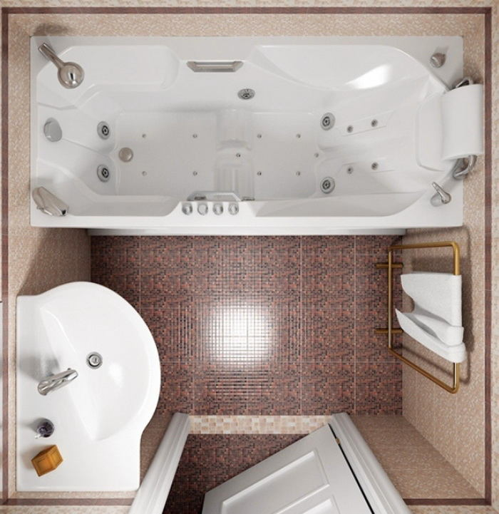 Ванная в цветах: серый, светло-серый, белый, коричневый, бежевый. Ванная в .