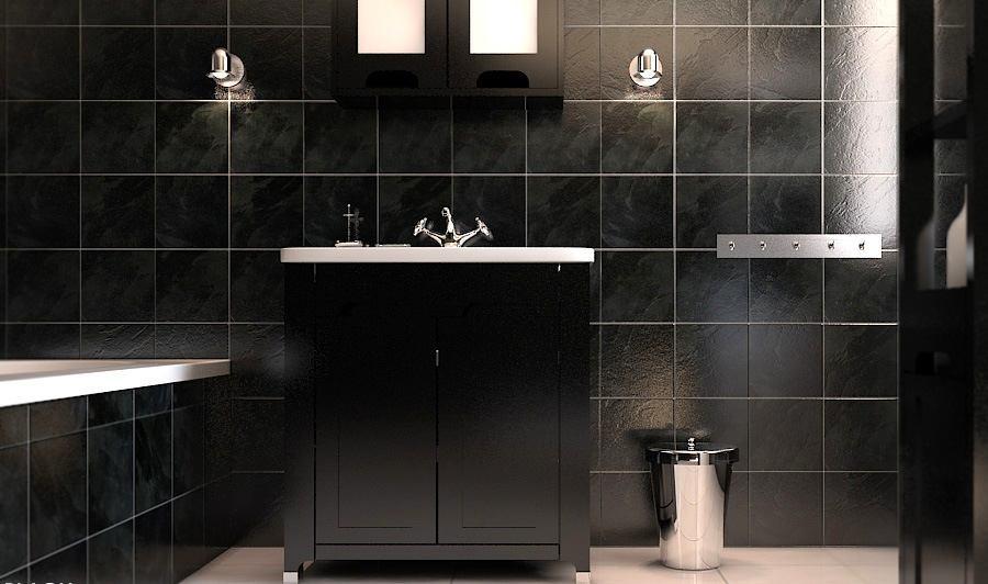 Ванная в цветах: черный, серый, светло-серый, белый. Ванная в стиле минимализм.