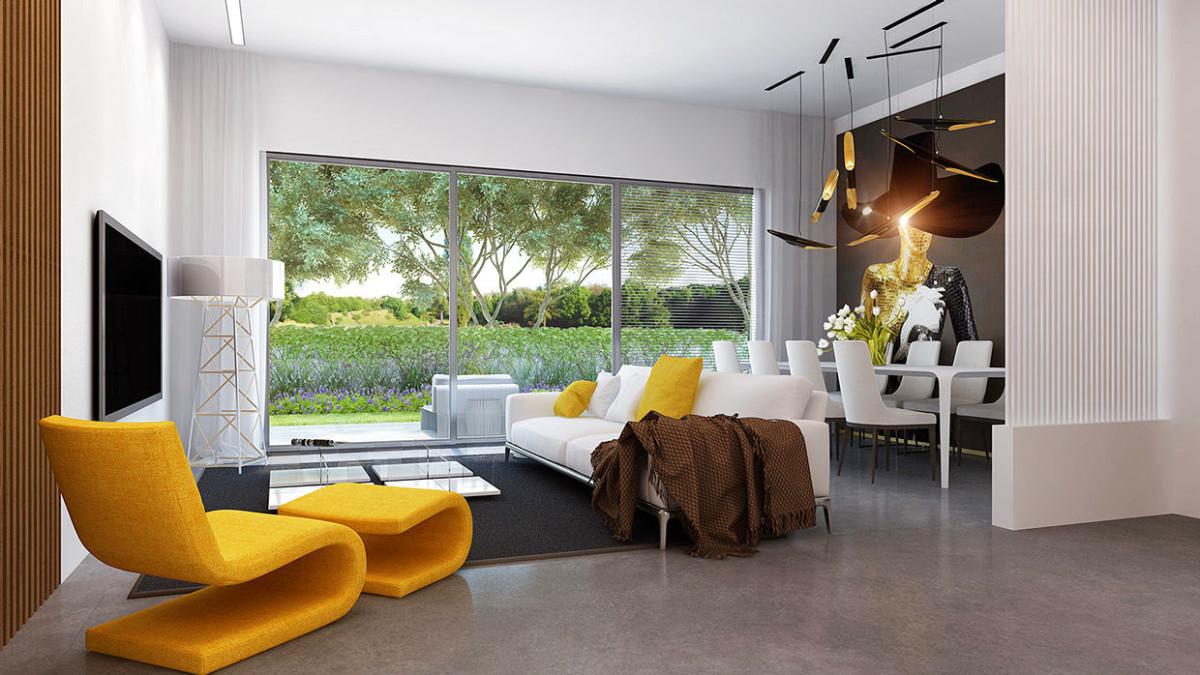 Гостиная, холл в цветах: желтый, черный, серый, светло-серый, белый. Гостиная, холл в стиле эклектика.