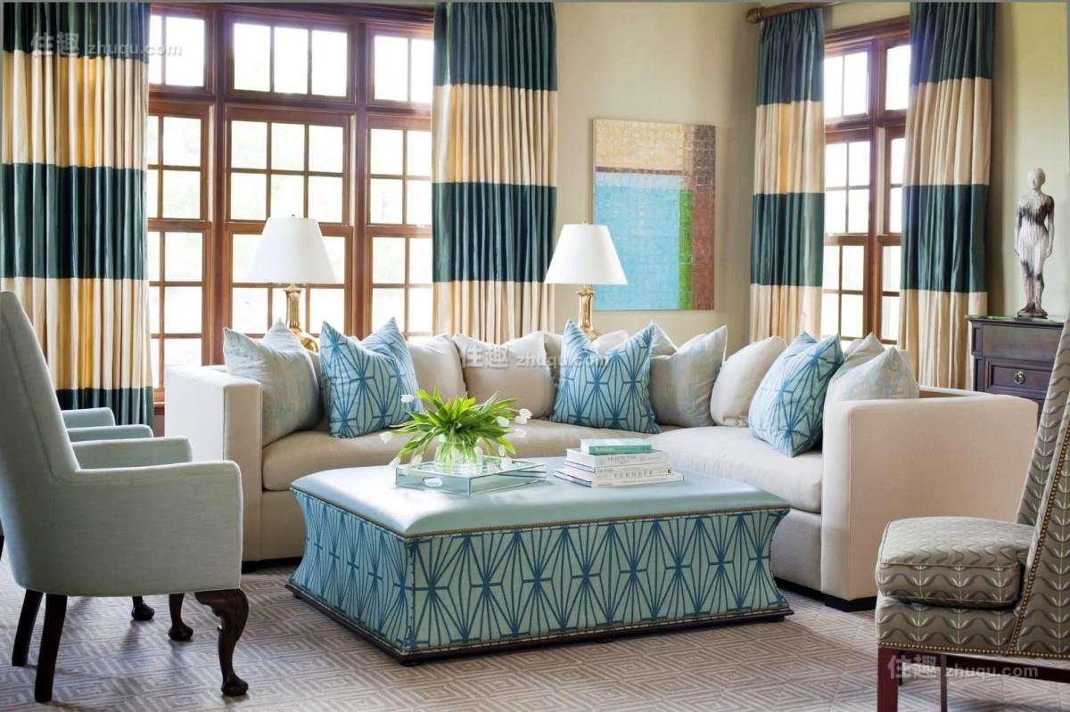 Гостиная, холл в цветах: голубой, светло-серый, белый, бежевый. Гостиная, холл в стиле американский стиль.