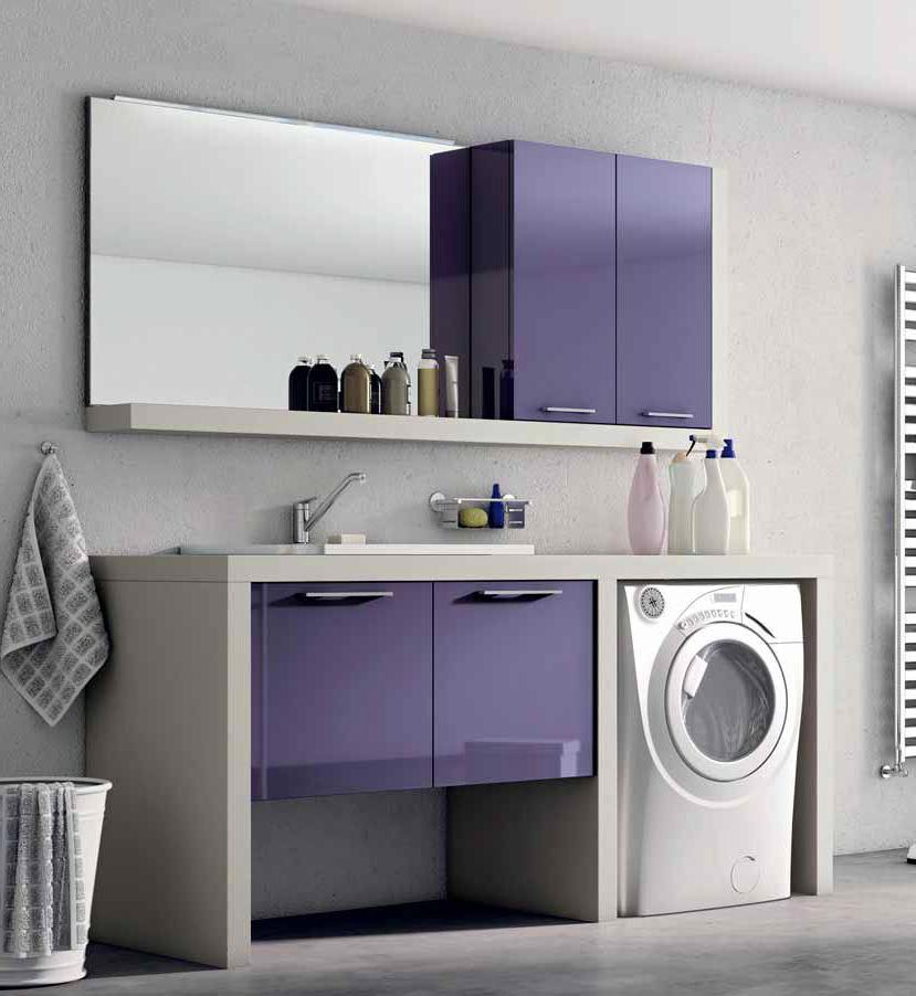 Ванная в цветах: фиолетовый, серый, белый. Ванная в .