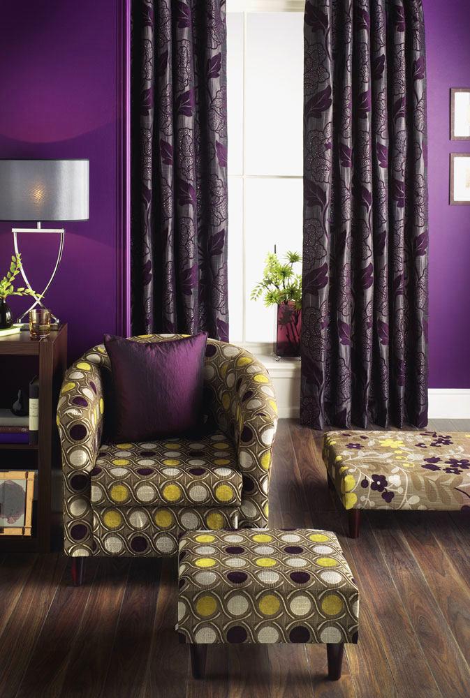 Гостиная, холл в цветах: сиреневый, темно-коричневый. Гостиная, холл в стиле арт-деко.