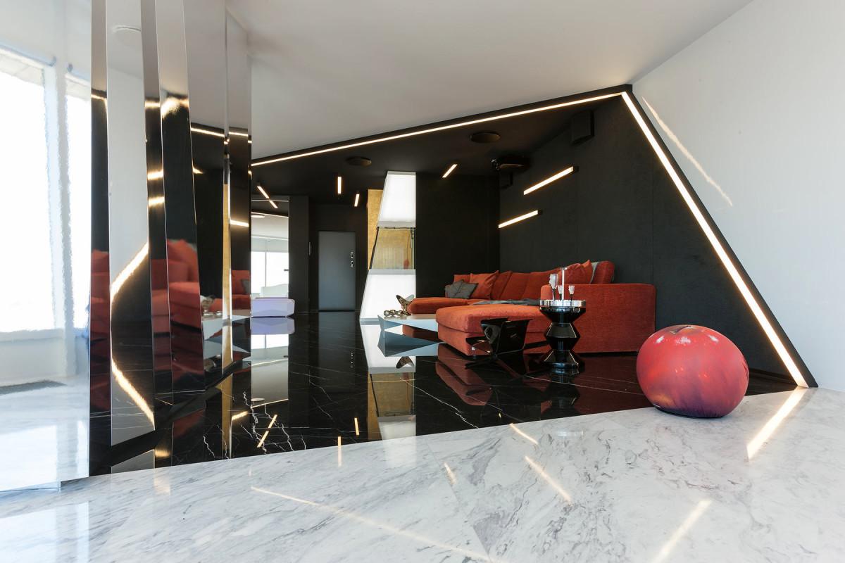 Гостиная, холл в цветах: черный, светло-серый, белый, бордовый. Гостиная, холл в .