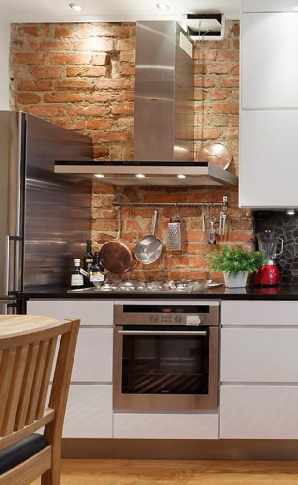 Кухня в цветах: белый, темно-коричневый, коричневый, бежевый. Кухня в стиле лофт.
