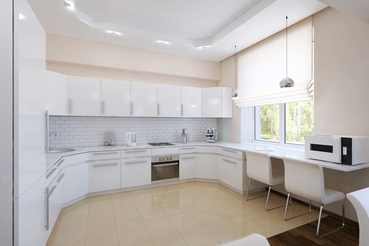 Кухня в цветах: серый, светло-серый, белый, бежевый. Кухня в стиле минимализм.