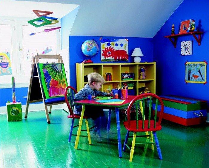 Детская в цветах: голубой, фиолетовый, черный, темно-зеленый. Детская в стилях: минимализм.